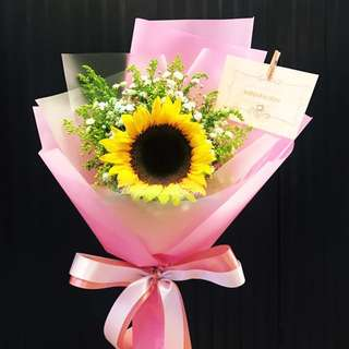 Single Sunflower with baby breath - Bespokebloom