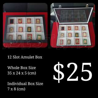 Brand New White 12 Compartment Amulet Box Display Case