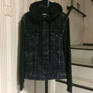 Denim hoodie H&M ripped washed black