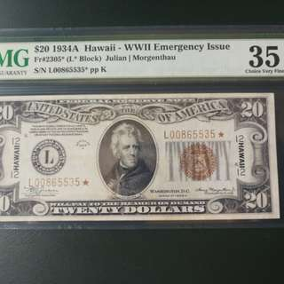 US hawaii $20 replacement note 1928 very very raee in any grade
