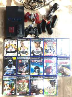 Playstation 2 console with 14 games