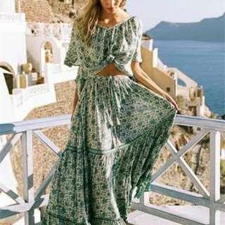 Spell designs kombi maxi skirt in sage sl