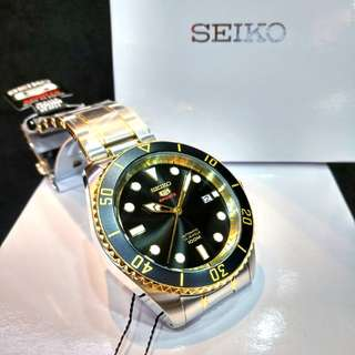 * FREE DELIVERY * Made In Japan Brand New 100% Authentic Seiko 5 Sports Automatic Mens Casual Watch Two Tone & Black Dial SRPB94 SRPB94J