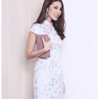 MADEBYNM Alma Sleeved Embossed Pastel Cheongsam, Size XS
