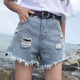 韓版街頭風磨破毛邊破洞高腰牛仔褲短褲