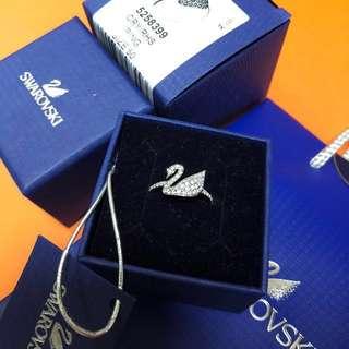 Swarovski 天鵝 戒指 水晶 ring 白金 介子