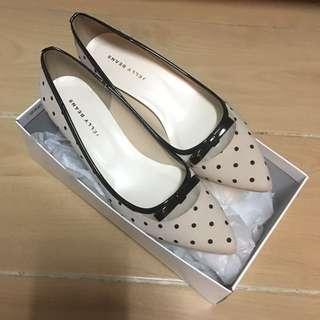 日本 Jelly Beans 鞋 Shoes Heels 高跟鞋 米色 深藍色 波點 japan flat