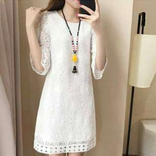 White casual Dress korean fashion