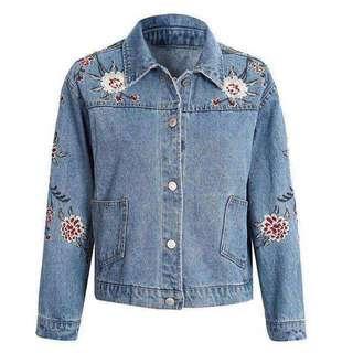 Embroidered Denim Jacket S-XL