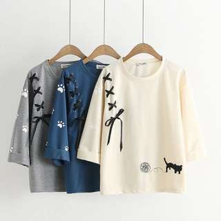2018 spring and summer Japanese of Samurai cat embroidery seven sleeves T-shirt
