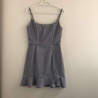 black and white checked dress