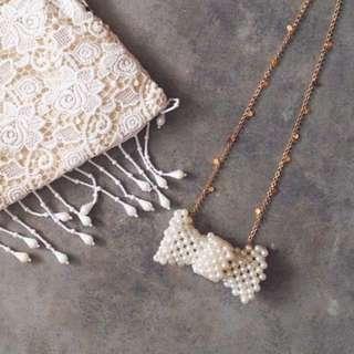 Brand new long korean jap 3D pearl ribbon necklace