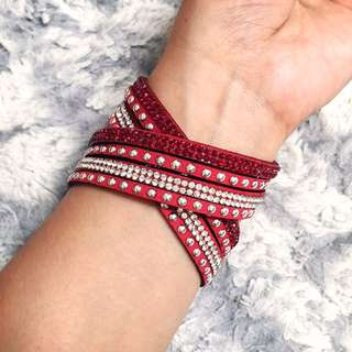 Swarovski inspired studded red leather bracelet NEW!