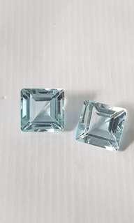 Aquamarine pair square cut 5.9 carat