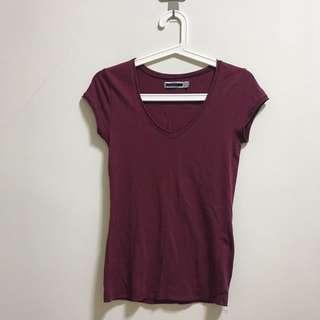 【Zara】基本款酒紅色上衣
