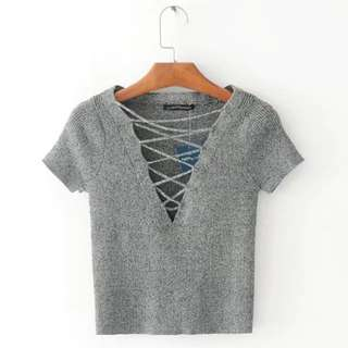 [PO] basic knit V lace up front scoop top