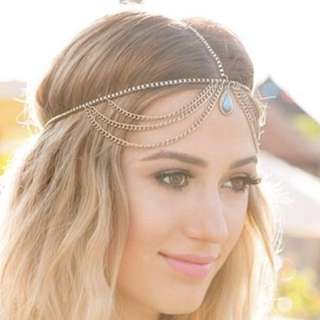 Lovisa Silver Chain Headpiece With Turqouise Gem