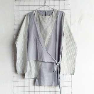 kimono grey stripes