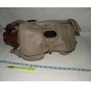 Kinaz 重金屬二手皮革灰色馬鞍包 半月包 側背包