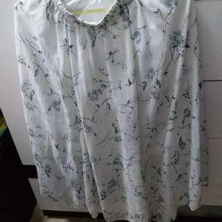 白色雪紡輕紗半截長裙 white Chiffon long skirt 95%new