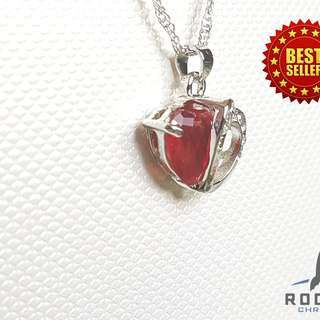 Red White Heart Gem Necklace (Available Now)