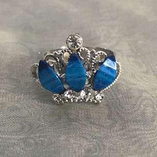 BN blue princess crown adjustable ring