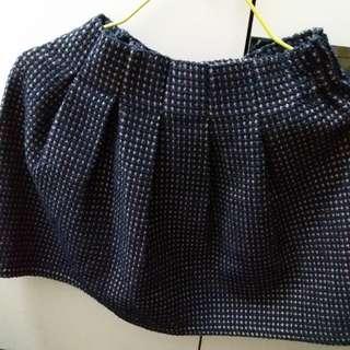 深藍色厚身千鳥半截裙 navy woolen skirt 95%new