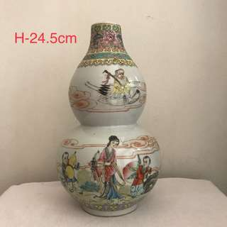 A Famille rose Figural Double Gourd vase
