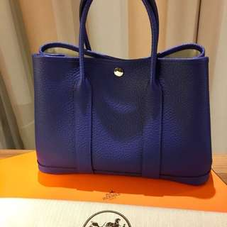 Brand New Hermes Garden Party 30 Bag Electric Blue