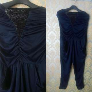 Jumpsuit Playsuit Kemben Biru