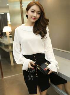 AO/KZC070705 - Charming Pleated Collar Chiffon Blouse with Rivets Tight Skirt