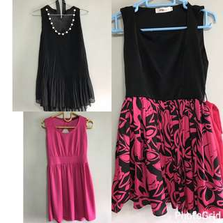 3 dress pink black
