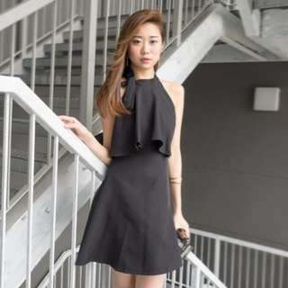 3inute Lauralyn Black Neck-tie dress