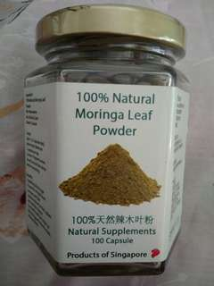 100% Natural Moringa Leaf Powder Supplement Capsules