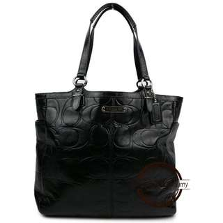 Authentic Coach Black Galley Embossed Patent Tote F19818