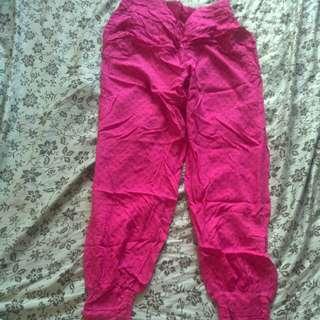 Loose Pink Patterned Genie/Pajama Pants