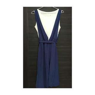 🚚 兩件式藍白吊帶洋裝