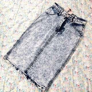 Brand New! 3/4 Pencil Denim Skirt + Tags