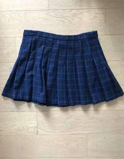 Zara - wool check pleated mini skirt in dark blue