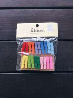 rainbow wooden pegs