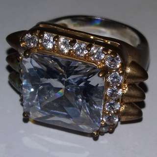 nOir Jewelry Gold Jewel-Encrusted Ring