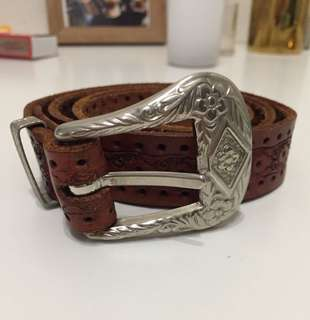 Brown Leather Boho Belt