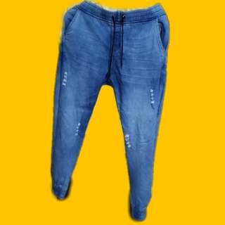 DENIM BLUE TATTERED PANTS/CUFF PANYS