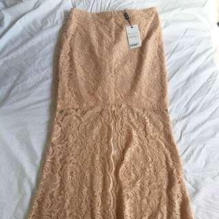 Bardot Pink Lace Maxi Skirt, Size 12