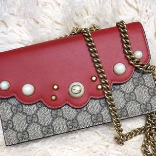 Gucci GG supreme pearl crossbody bag wallet on chain