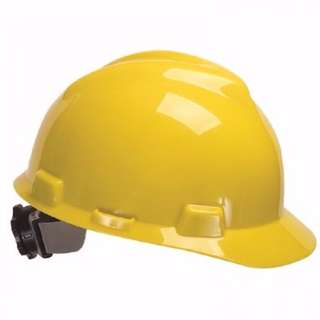 MSA V-Gard Fas-Trac Slotted Safety Helmet with Chin Strap