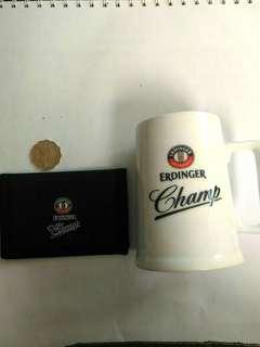全新 ERDINGER CHAMP 細啤酒杯/水杯 及咭片套