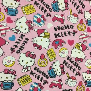Sweet donut kitty 🐱 cotton canvas fabric/kain diy cloth