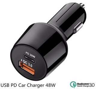 Latest tech car charger - 2 ports (QC3.0 18W & USB-C PD 30W)