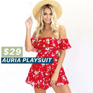 INSTOCKS Floral Off Shoulder Romper / Playsuit